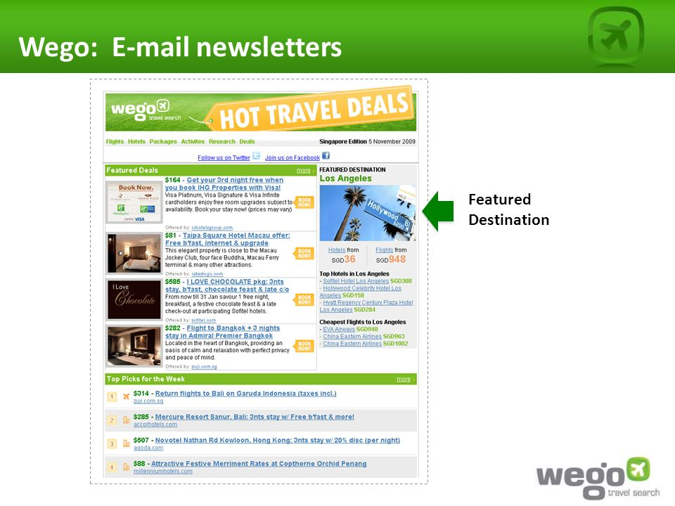 Wego: E-mail newsletters Featured Destination