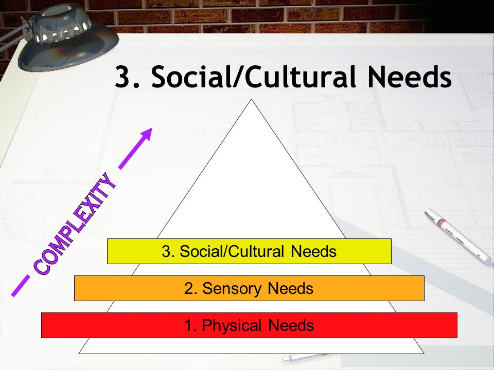 3. Social/Cultural Needs 1. Physical Needs 2. Sensory Needs 3. Social/Cultural Needs