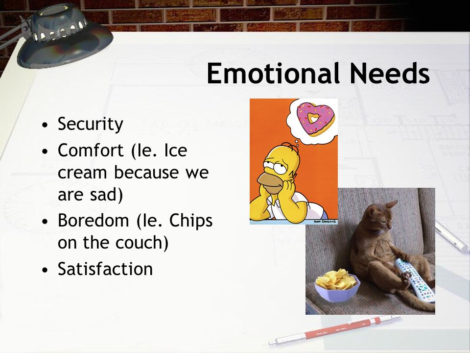Emotional Needs Security Comfort (Ie.Ice cream because we are sad) Boredom (Ie.