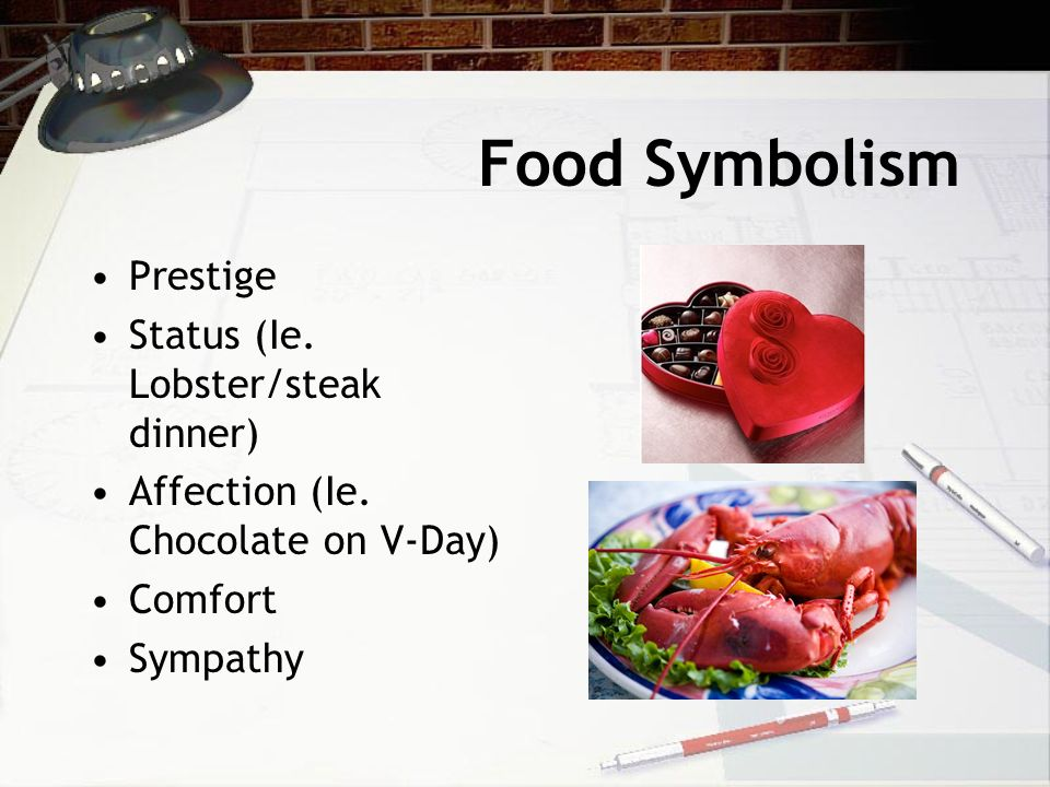 Food Symbolism Prestige Status (Ie. Lobster/steak dinner) Affection (Ie.