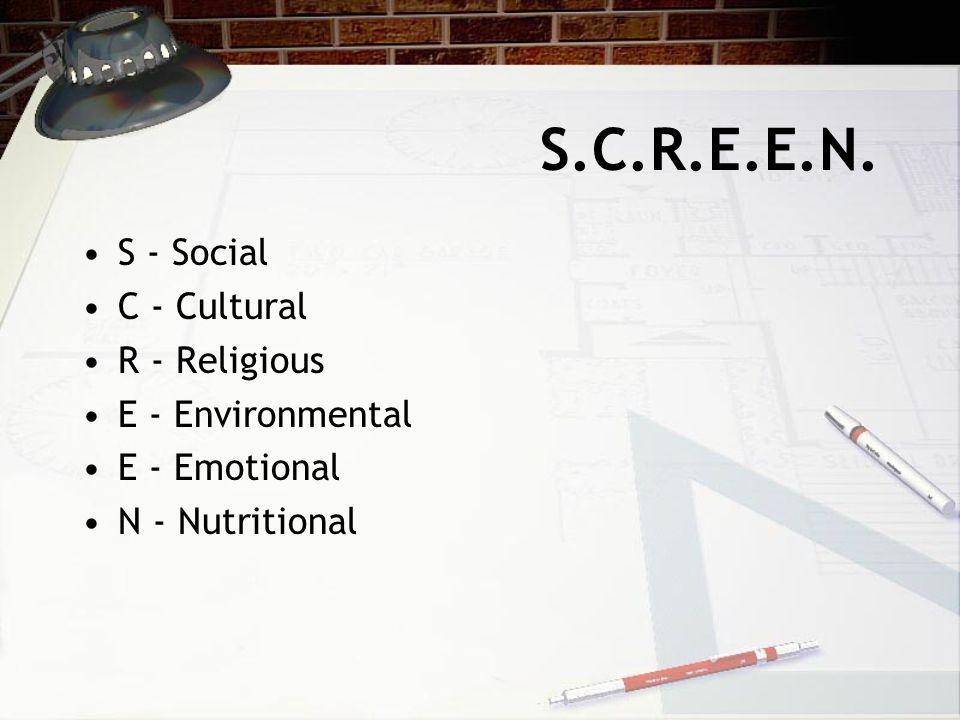 S.C.R.E.E.N. S - Social C - Cultural R - Religious E - Environmental E - Emotional N - Nutritional