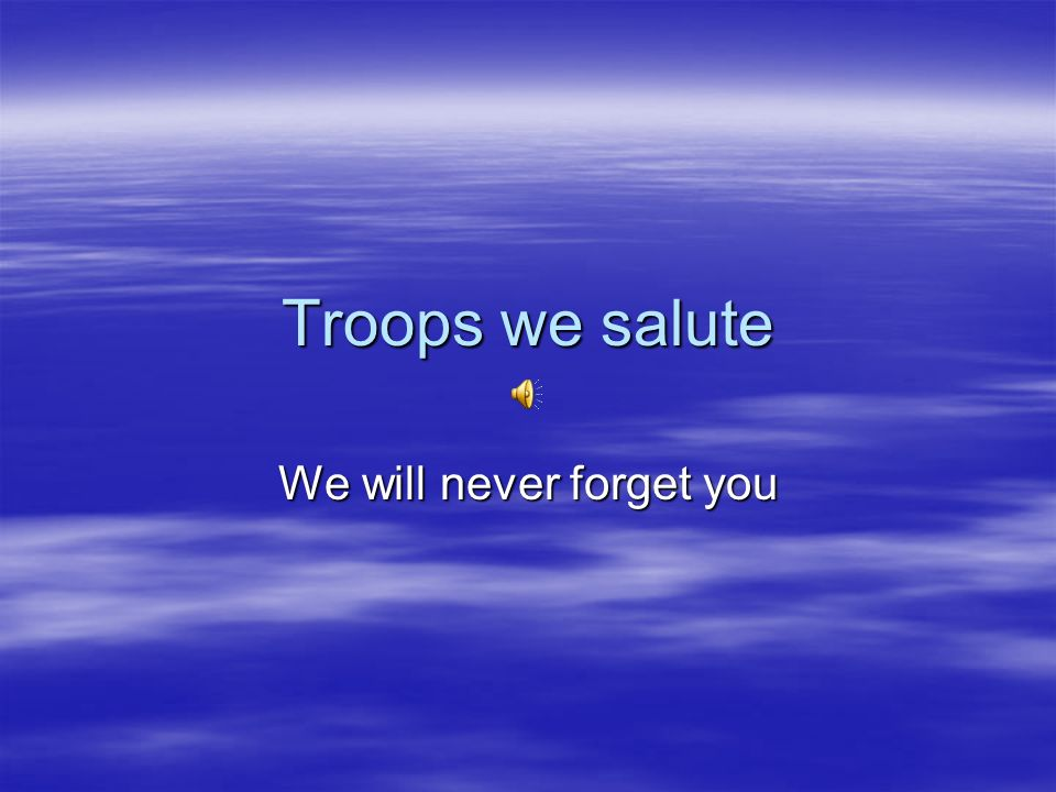 Troops we salute We will never forget you