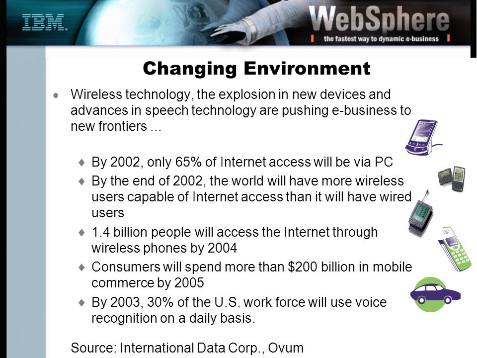 Changing Environment Wireless technology, the explosion in new devices and advances in speech technology are pushing e-business to new frontiers... By