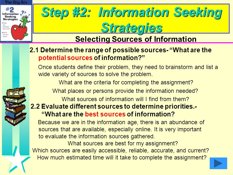Step #1: Task Definition Defining the Task 1.1 Define the information problem - What is the problem I need to solve? 1. What is the problem about? 2.