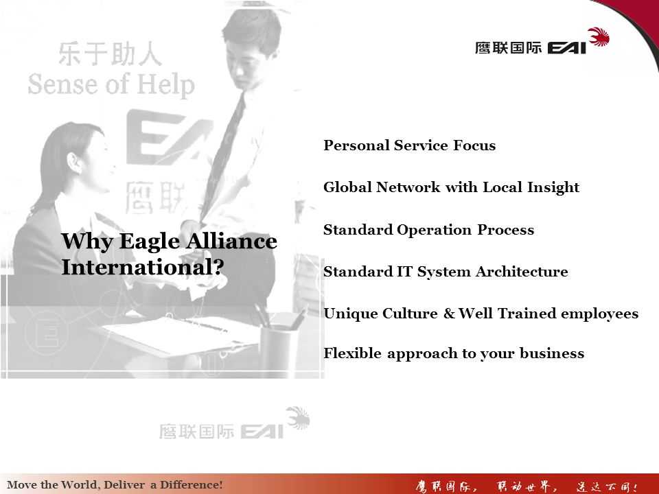 Move the world, Deliver a Difference! Move the World, Deliver a Difference! Move the World, Deliver a Difference! Conclusion Eagle Alliance Internatio
