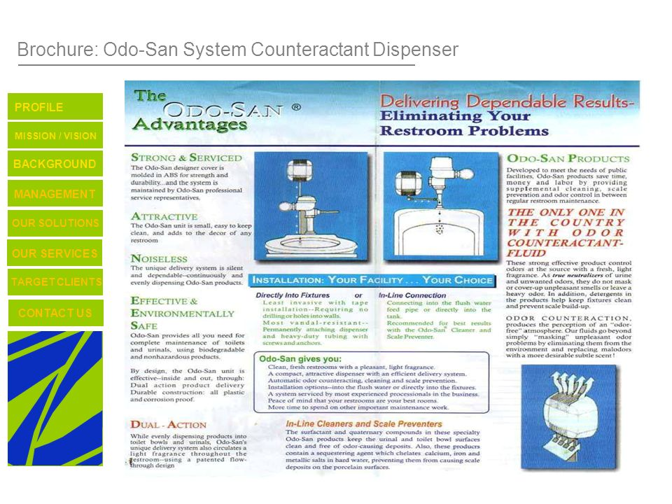TARGET CLIENTS CONTACT US OUR SERVICES OUR SOLUTIONS BACKGROUND MISSION / VISION PROFILE MANAGEMENT Brochure: Odo-San System Counteractant Dispenser