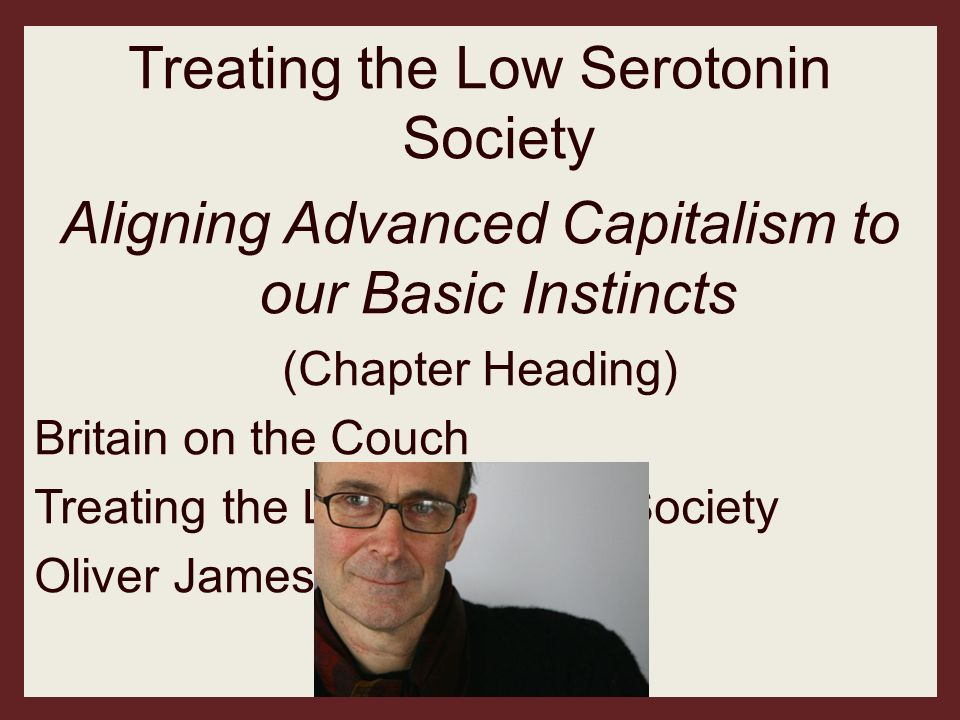 Treating the Low Serotonin Society Aligning Advanced Capitalism to our Basic Instincts (Chapter Heading) Britain on the Couch Treating the Low Seroton