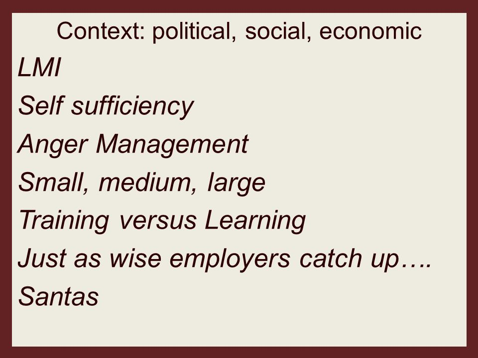 Context: political, social, economic LMI Self sufficiency Anger Management Small, medium, large Training versus Learning Just as wise employers catch
