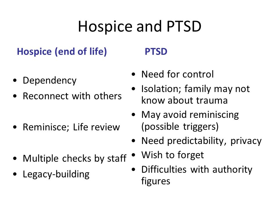 Hospice and PTSD Hospice (end of life) Dependency Reconnect with others Reminisce; Life review Multiple checks by staff Legacy-building PTSD Need for
