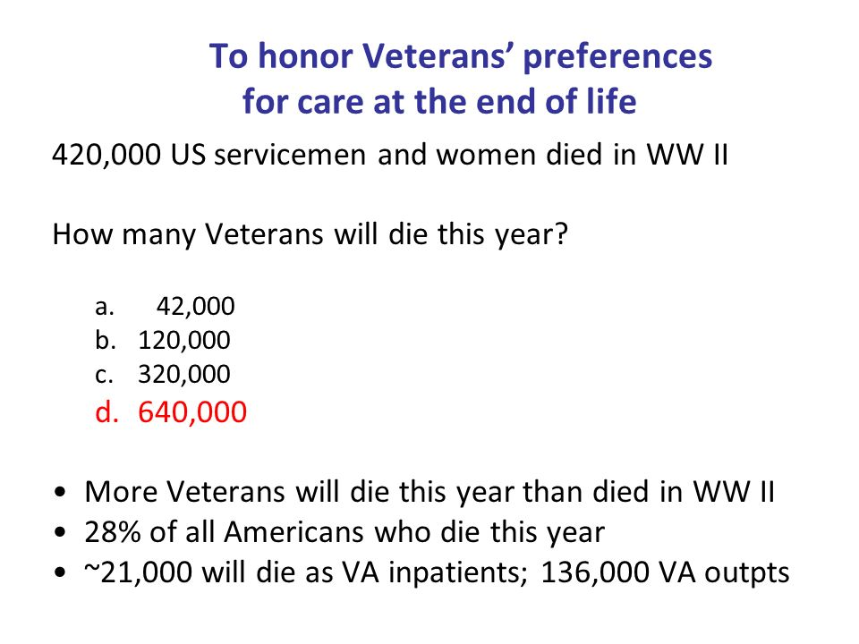 To honor Veterans preferences for care at the end of life 420,000 US servicemen and women died in WW II How many Veterans will die this year? a. 42,00