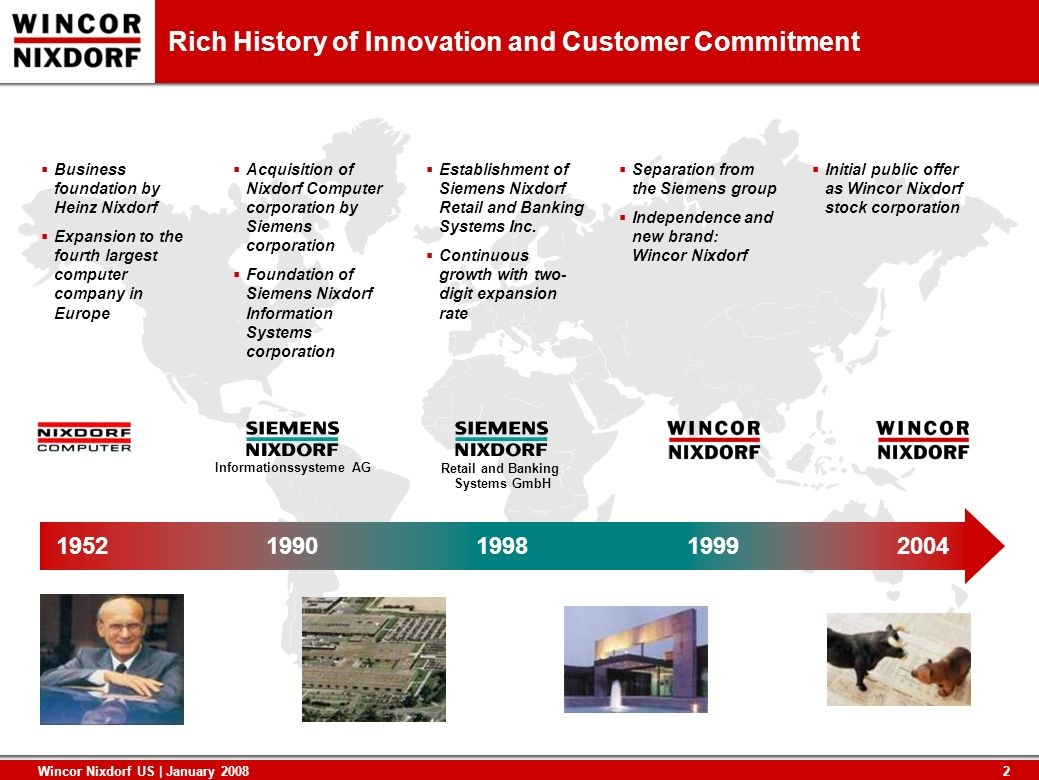 2 Wincor Nixdorf US | January 2008 Rich History of Innovation and Customer Commitment 19521990199819992004 Informationssysteme AG Retail and Banking S