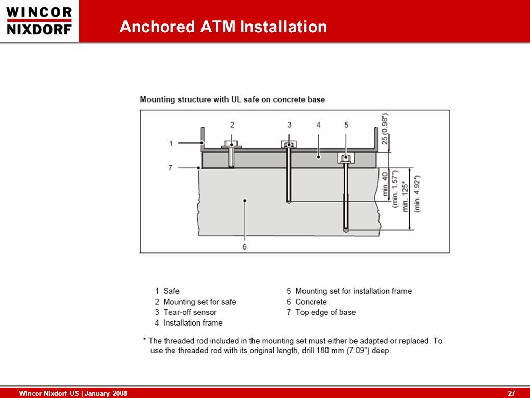 27 Wincor Nixdorf US | January 2008 Anchored ATM Installation