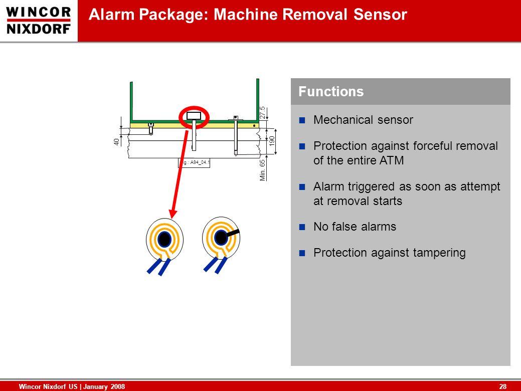 28 Wincor Nixdorf US | January 2008 Functions Alarm Package: Machine Removal Sensor Fig.: A94_04.1 40 Min. 65 27.5 190 Mechanical sensor Protection ag