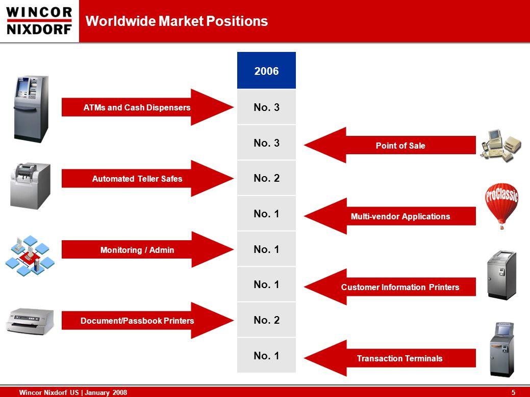 5 Wincor Nixdorf US | January 2008 Worldwide Market Positions 2006 No. 3 No. 2 No. 1 No. 2 No. 1 Automated Teller Safes Monitoring / Admin Document/Pa