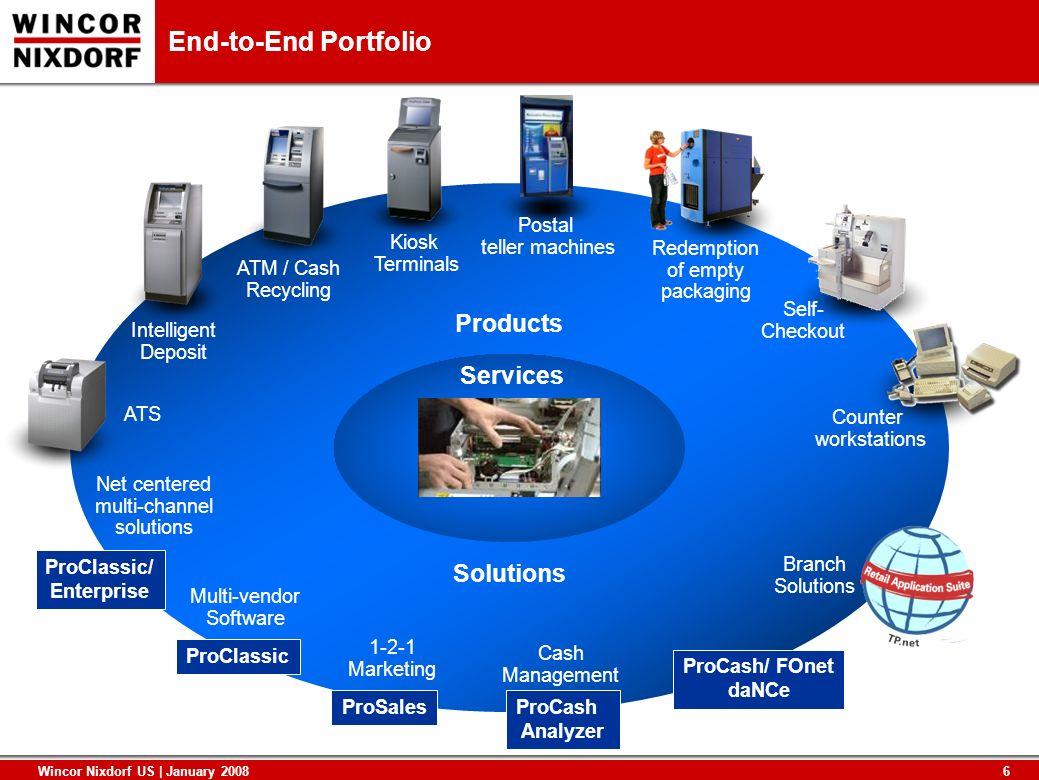 6 Wincor Nixdorf US | January 2008 End-to-End Portfolio ProCash Analyzer Multi-vendor Software Net centered multi-channel solutions ProClassic ProClas