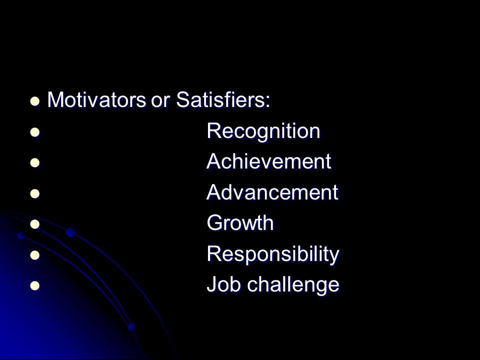 Motivators or Satisfiers: Motivators or Satisfiers: Recognition Recognition Achievement Achievement Advancement Advancement Growth Growth Responsibili