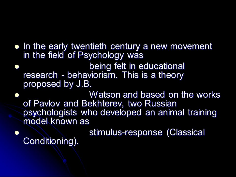 In the early twentieth century a new movement in the field of Psychology was In the early twentieth century a new movement in the field of Psychology