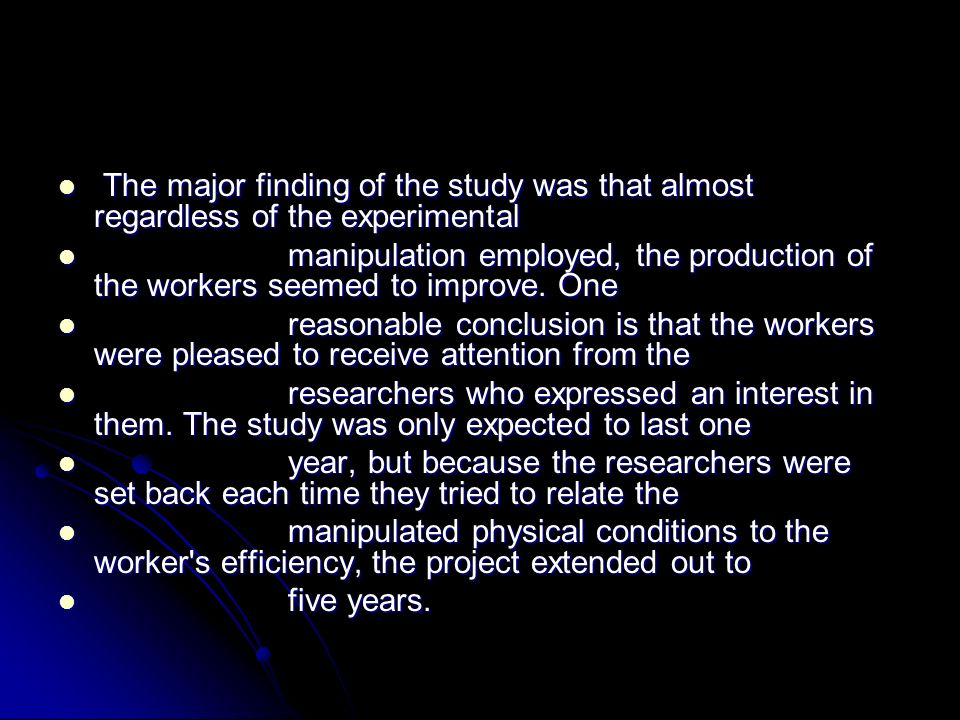 The major finding of the study was that almost regardless of the experimental The major finding of the study was that almost regardless of the experim