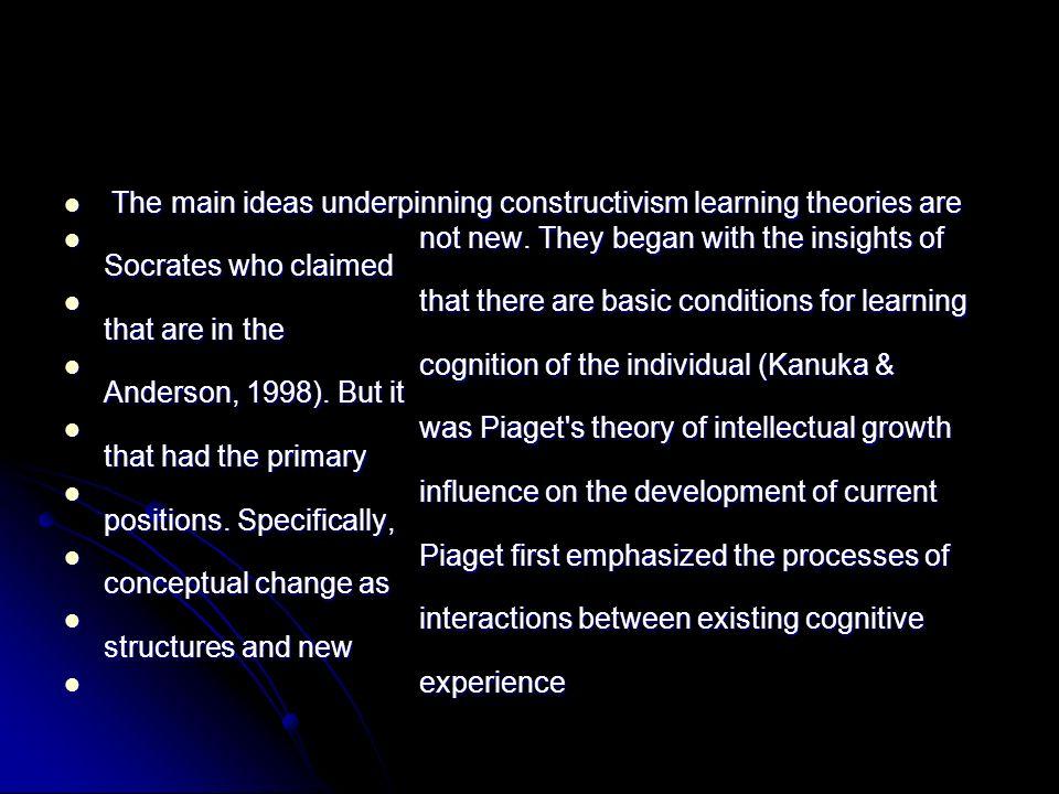 The main ideas underpinning constructivism learning theories are The main ideas underpinning constructivism learning theories are not new. They began
