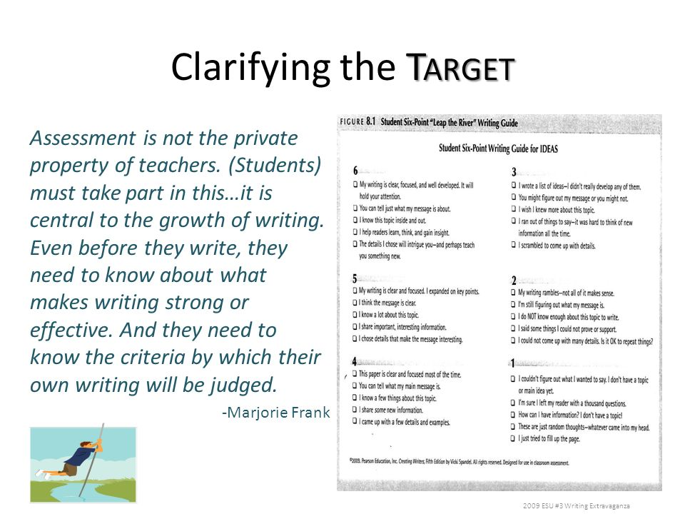 T ARGET Clarifying the T ARGET Assessment is not the private property of teachers. (Students) must take part in this…it is central to the growth of wr
