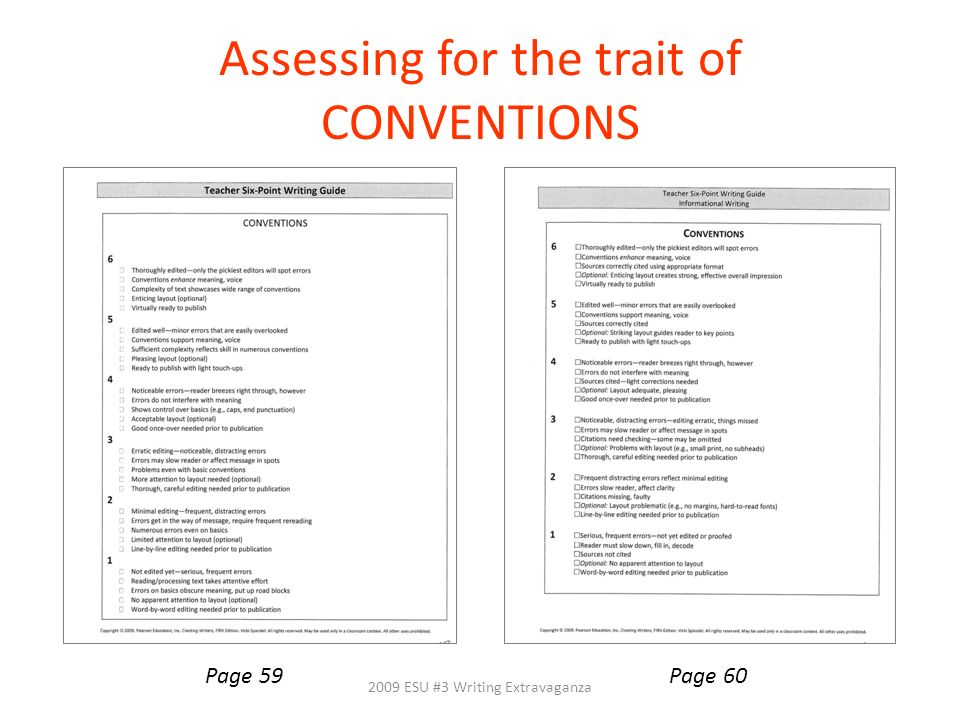 Assessing for the trait of CONVENTIONS 2009 ESU #3 Writing Extravaganza Page 59Page 60