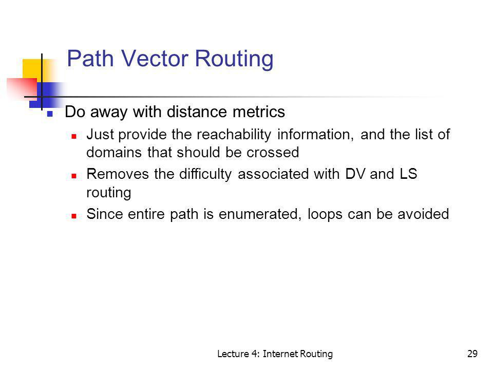 Lecture 4: Internet Routing29 Path Vector Routing Do away with distance metrics Just provide the reachability information, and the list of domains tha