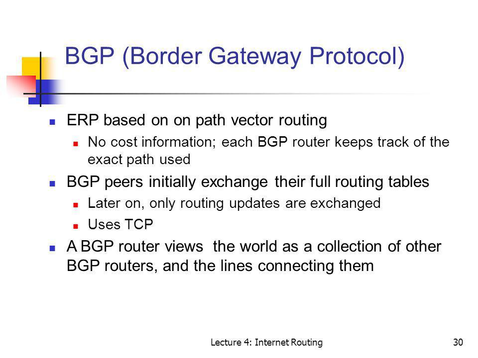 Lecture 4: Internet Routing30 BGP (Border Gateway Protocol) ERP based on on path vector routing No cost information; each BGP router keeps track of th