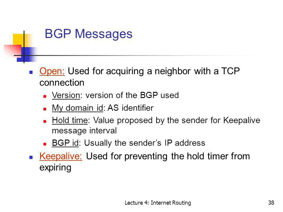 Lecture 4: Internet Routing38 BGP Messages Open: Used for acquiring a neighbor with a TCP connection Version: version of the BGP used My domain id: AS