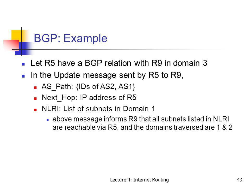 Lecture 4: Internet Routing43 BGP: Example Let R5 have a BGP relation with R9 in domain 3 In the Update message sent by R5 to R9, AS_Path: {IDs of AS2