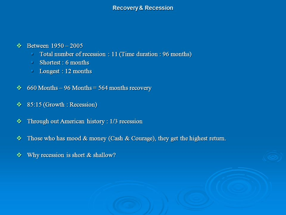Between 1950 – 2005 Between 1950 – 2005 Total number of recession : 11 (Time duration : 96 months) Total number of recession : 11 (Time duration : 96