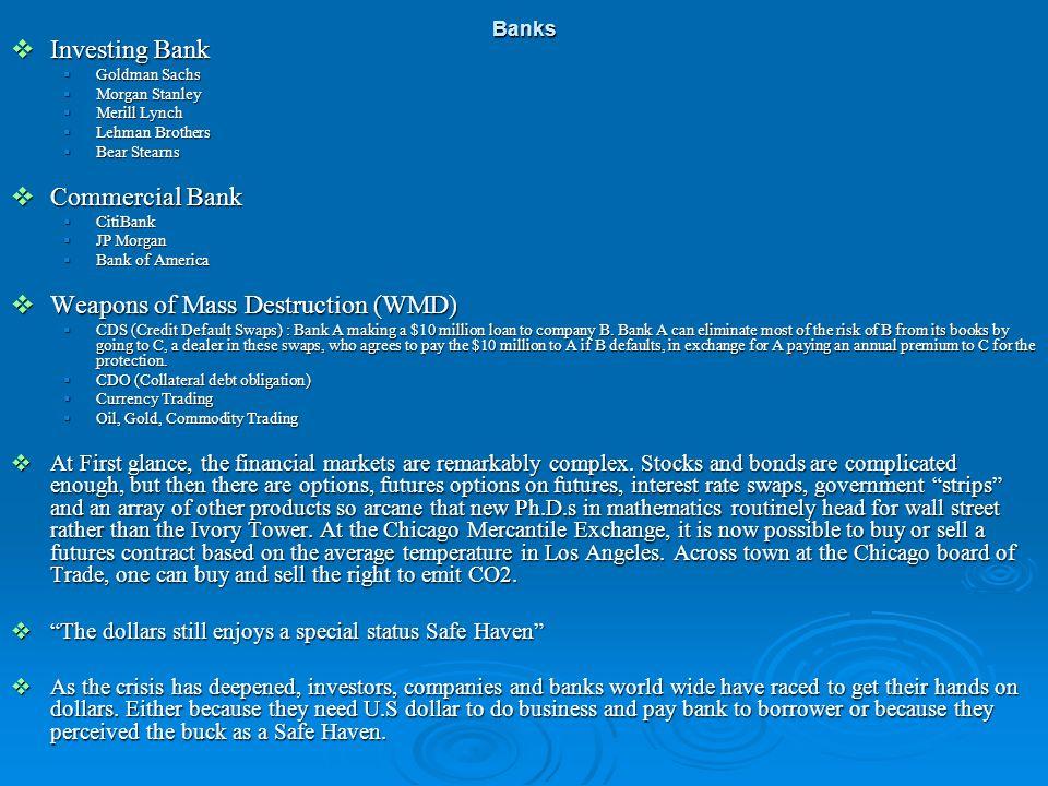 Investing Bank Investing Bank Goldman Sachs Goldman Sachs Morgan Stanley Morgan Stanley Merill Lynch Merill Lynch Lehman Brothers Lehman Brothers Bear