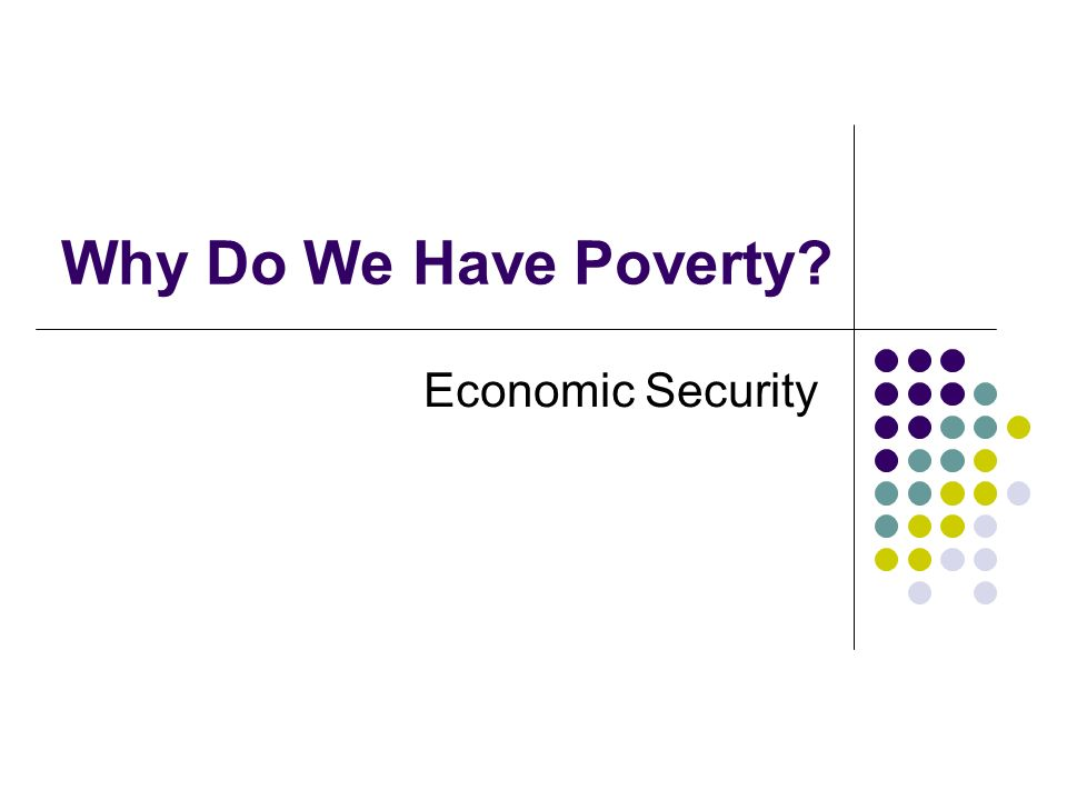 Why Do We Have Poverty Economic Security