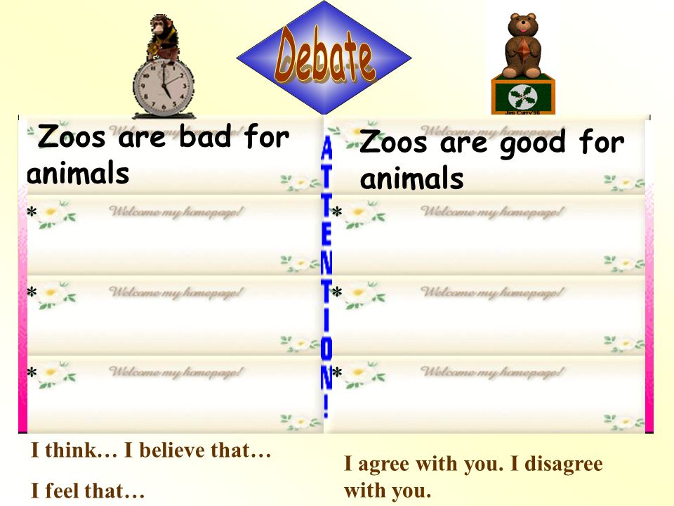 Zoos are terrible places Zoos are important places ** ** ** Fill in the chart. Animals are kept in tiny cages Animals can hardly move at all Animals a