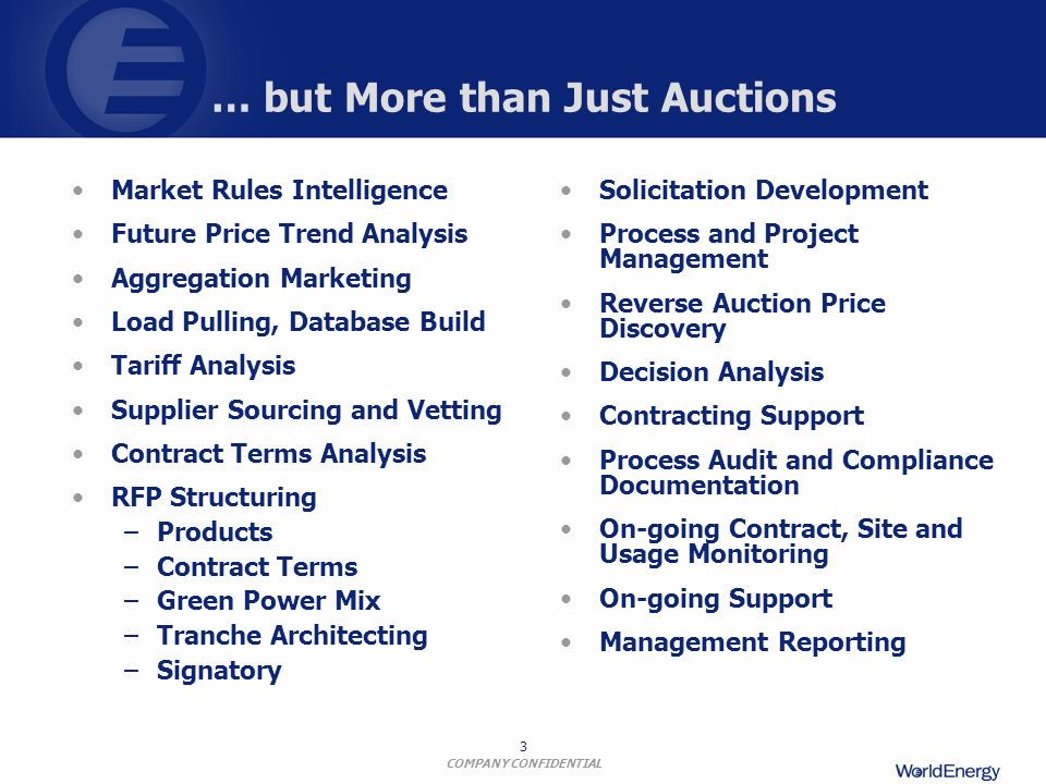 COMPANY CONFIDENTIAL 14 Reverse Auction Process Auction RFPs are posted for Energy Consumers Energy Suppliers Bid Competitively for Contracts