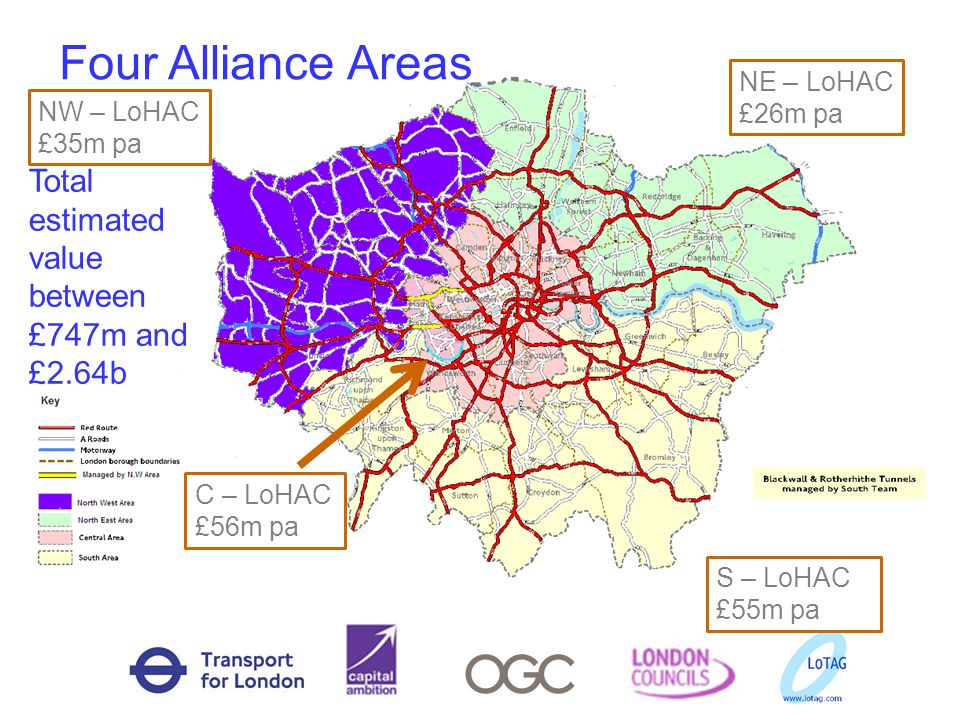Four Alliance Areas NE – LoHAC £26m pa C – LoHAC £56m pa NW – LoHAC £35m pa S – LoHAC £55m pa Total estimated value between £747m and £2.64b