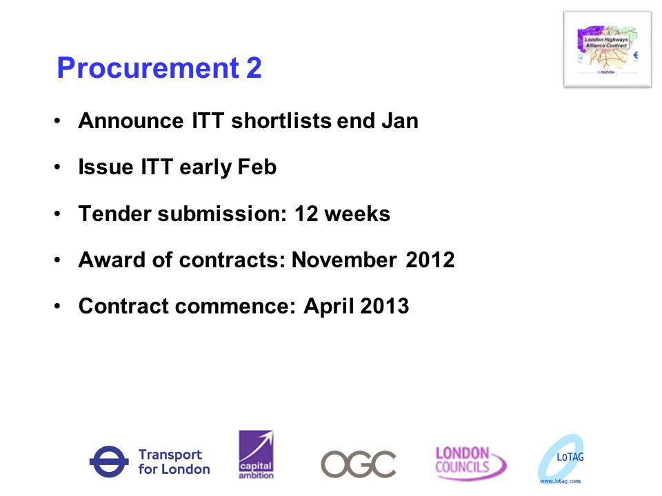 Procurement 2 Announce ITT shortlists end Jan Issue ITT early Feb Tender submission: 12 weeks Award of contracts: November 2012 Contract commence: Apr
