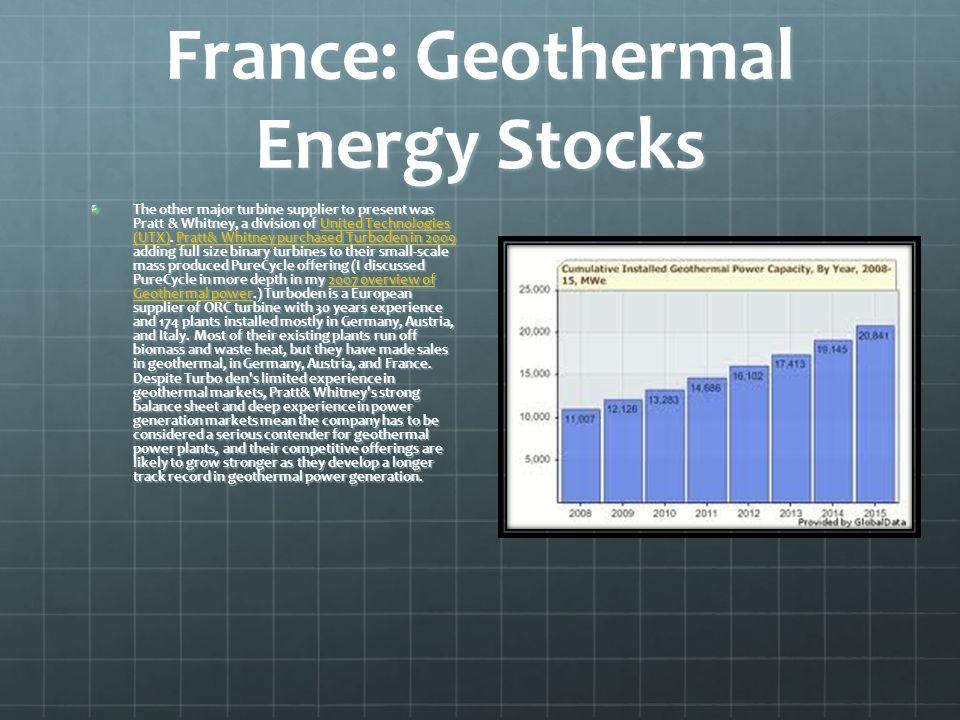 France: Geothermal Energy Stocks The other major turbine supplier to present was Pratt & Whitney, a division of United Technologies (UTX). Pratt& Whit