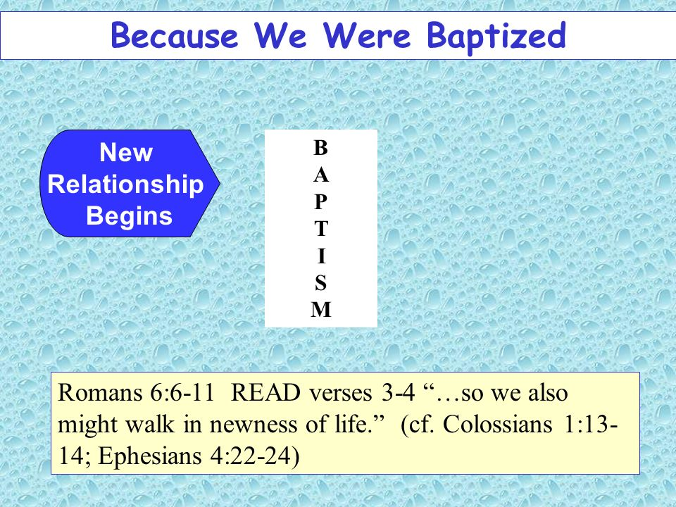 New Relationship Begins Romans 6:6-11 READ verses 3-4 …so we also might walk in newness of life. (cf. Colossians 1:13- 14; Ephesians 4:22-24) BAPTISMB