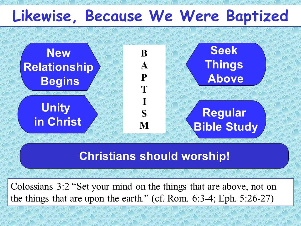 Likewise, Because We Were Baptized Christians should worship! Colossians 3:2 Set your mind on the things that are above, not on the things that are up