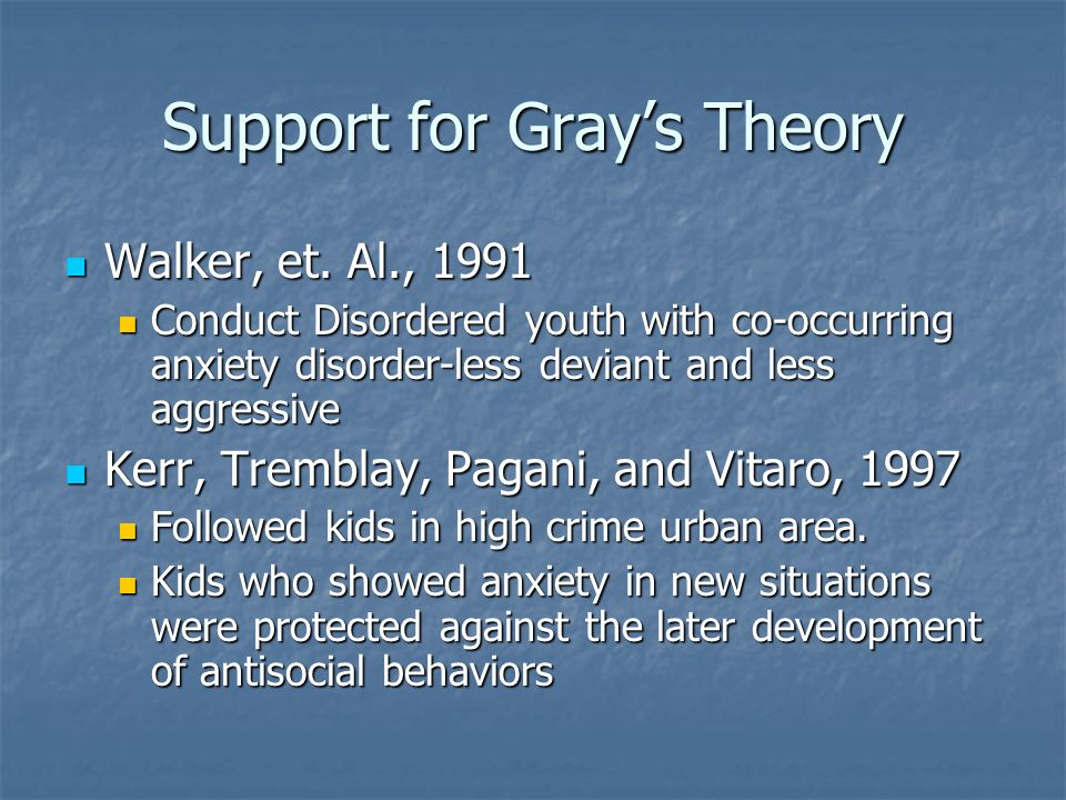 Support for Grays Theory Walker, et. Al., 1991 Walker, et. Al., 1991 Conduct Disordered youth with co-occurring anxiety disorder-less deviant and less