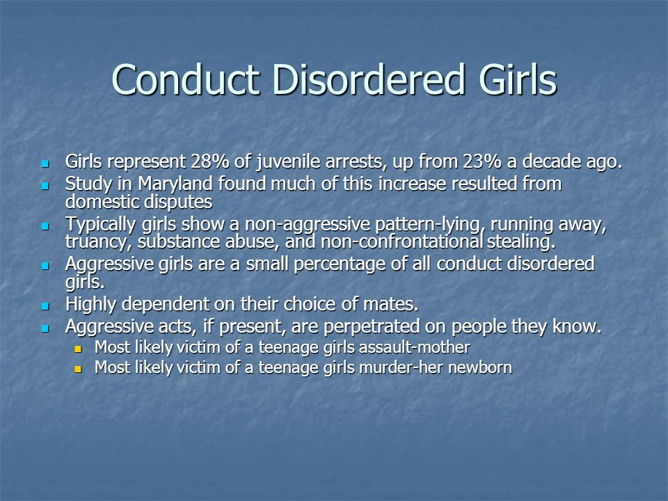 Conduct Disordered Girls Girls represent 28% of juvenile arrests, up from 23% a decade ago. Girls represent 28% of juvenile arrests, up from 23% a dec