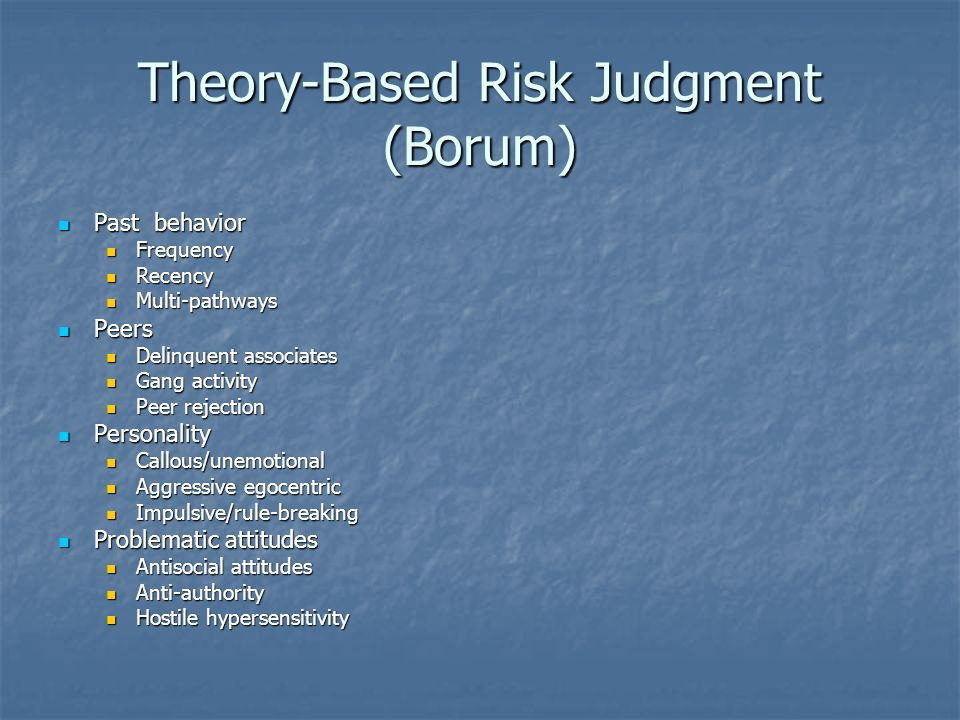 Theory-Based Risk Judgment (Borum) Past behavior Past behavior Frequency Frequency Recency Recency Multi-pathways Multi-pathways Peers Peers Delinquen