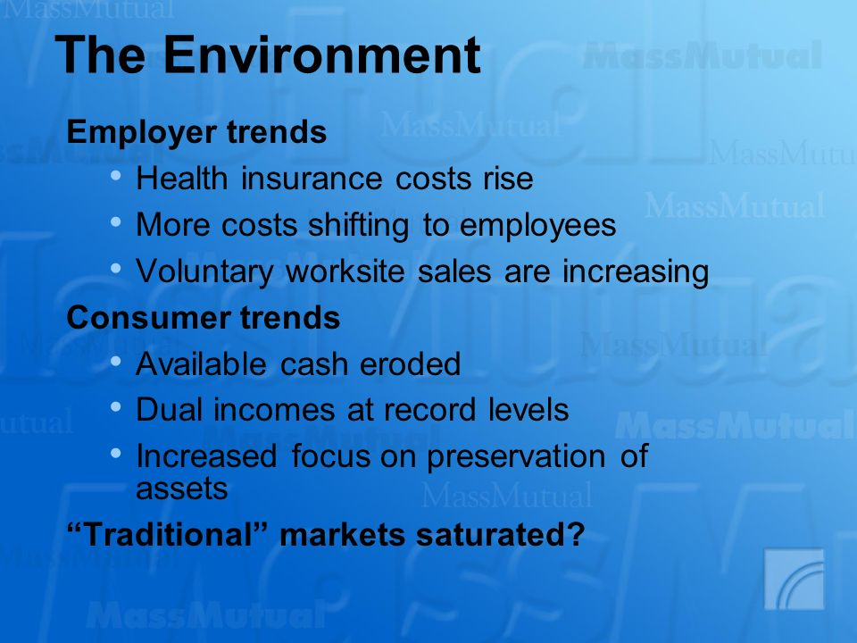 The Environment Employer trends Health insurance costs rise More costs shifting to employees Voluntary worksite sales are increasing Consumer trends Available cash eroded Dual incomes at record levels Increased focus on preservation of assets Traditional markets saturated?