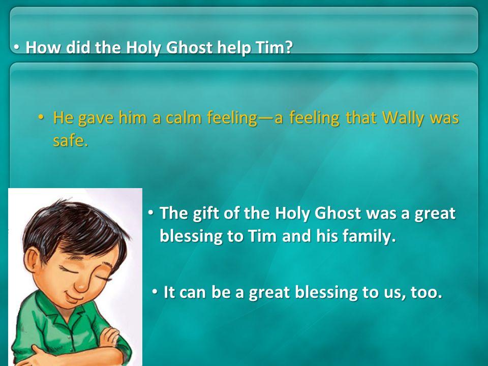 He gave him a calm feelinga feeling that Wally was safe. He gave him a calm feelinga feeling that Wally was safe. The gift of the Holy Ghost was a gre