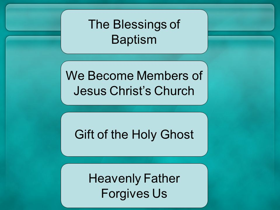 Heavenly Father has promised to give us great blessings if we are baptized and keep the commandments. The next time you take the sacrament, think of t
