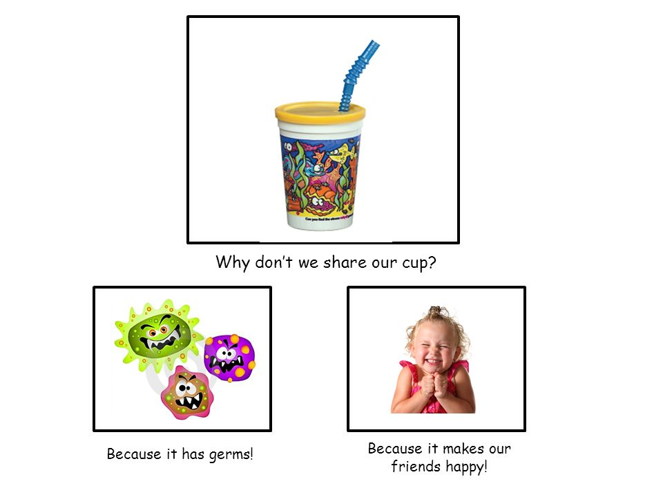 Why dont we share our cup Because it has germs! Because it makes our friends happy!