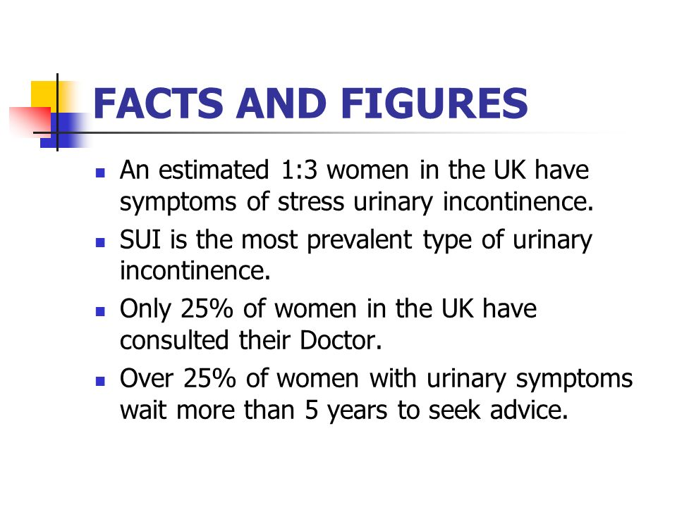 FACTS AND FIGURES 53 million people in Europe have bowel control problems or faecal incontinence – more prevalent than asthma/diabetes 1.4% of the population over 40 years old in the UK affected by faecal incontinence Constipation affects between 3% and 15% 1 in 5 people over 40 – overactive bladder (Bladder and Bowel Foundation – October 2009)