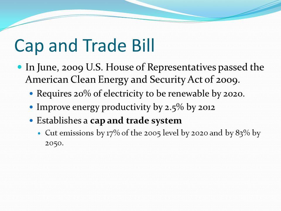 Cap and Trade Bill In June, 2009 U.S.
