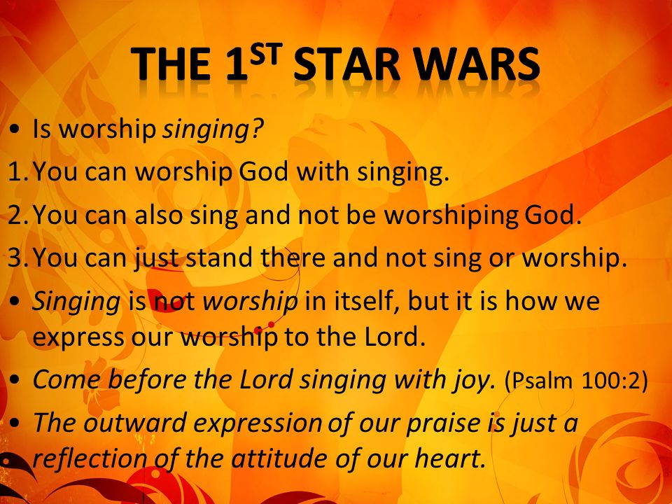 Several important points concerning Worship 1.