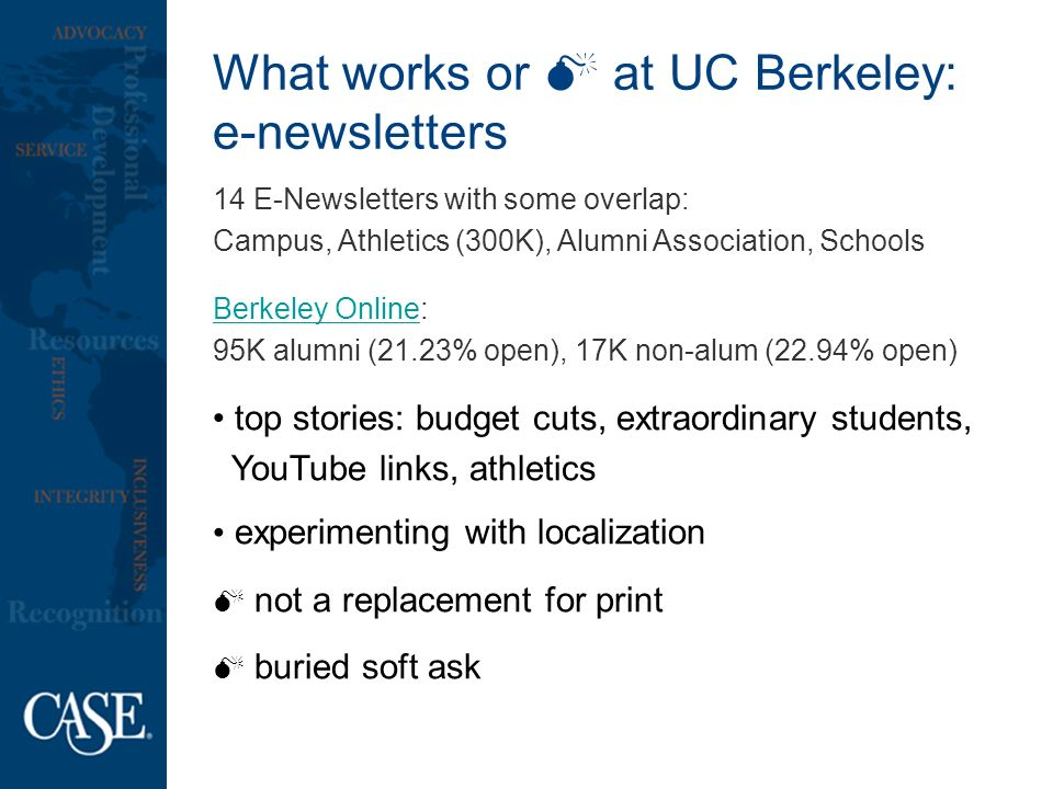 What works or at UC Berkeley: e-newsletters 14 E-Newsletters with some overlap: Campus, Athletics (300K), Alumni Association, Schools Berkeley OnlineBerkeley Online: 95K alumni (21.23% open), 17K non-alum (22.94% open) top stories: budget cuts, extraordinary students, YouTube links, athletics experimenting with localization not a replacement for print buried soft ask